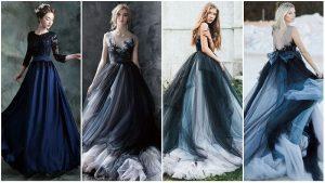 Vestidos de casamento preto e azul