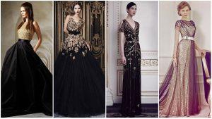 Vestidos de casamento preto e dourado