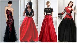 Vestidos de noiva vermelho e preto